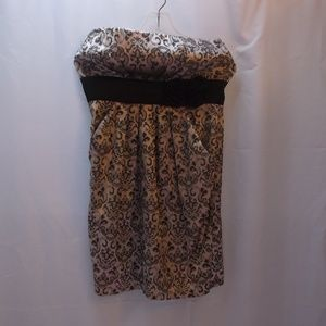 Studio Y Strapless Printed Dress With Brown Roses